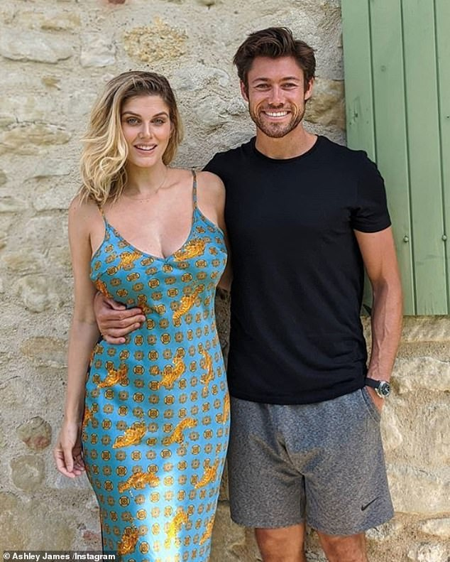 Exciting news: Pregnant Ashley James has revealed she is having a boy with her partner of nine months Tom Andrews