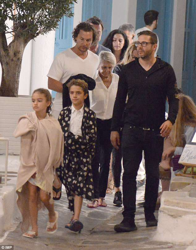 Next stop: Matthew McConaughey and clan were spotted on the Greek island of Mykonos on Saturday as they continued their whistle-stop vacation in southern Europe