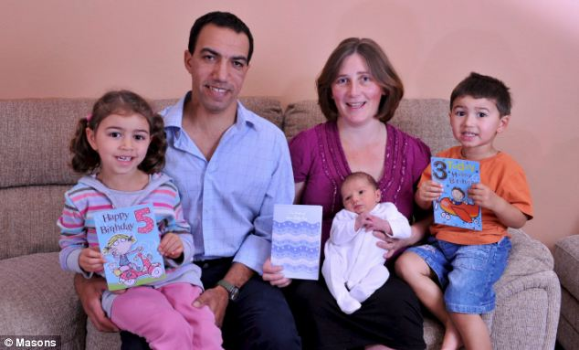 Jennifer and Driss Allali, 39 and 38, with Najla, 5, Adam, 3, and newborn Sami, all born on October 7 against astonishing odds