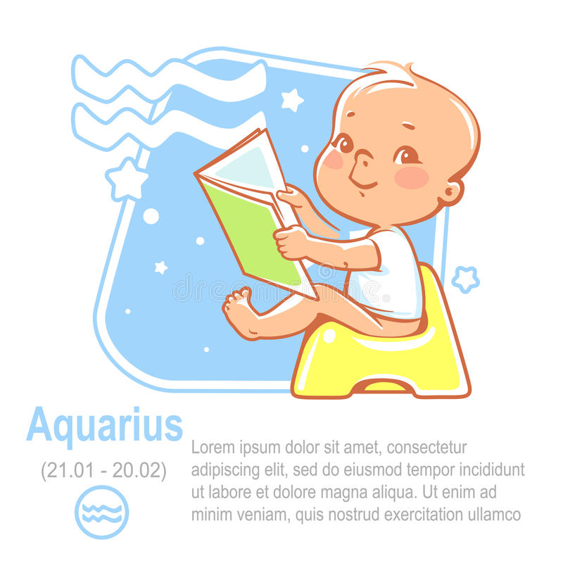 Baby zodiac aquarius stock illustration