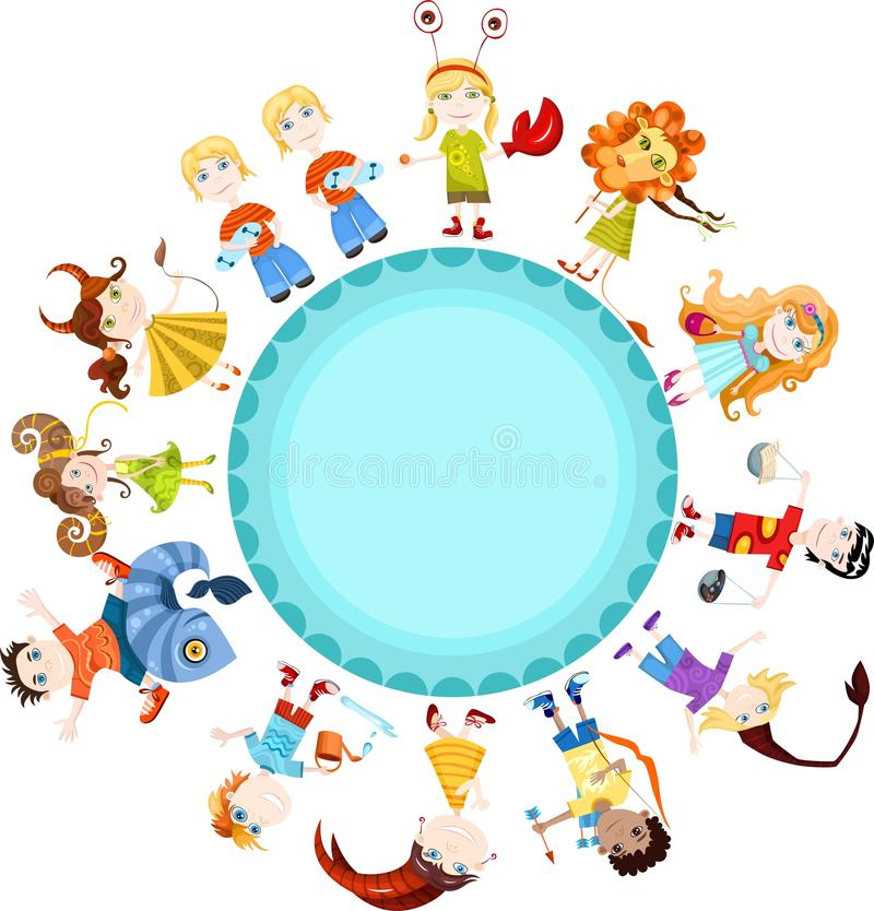 Children horoscope vector illustration