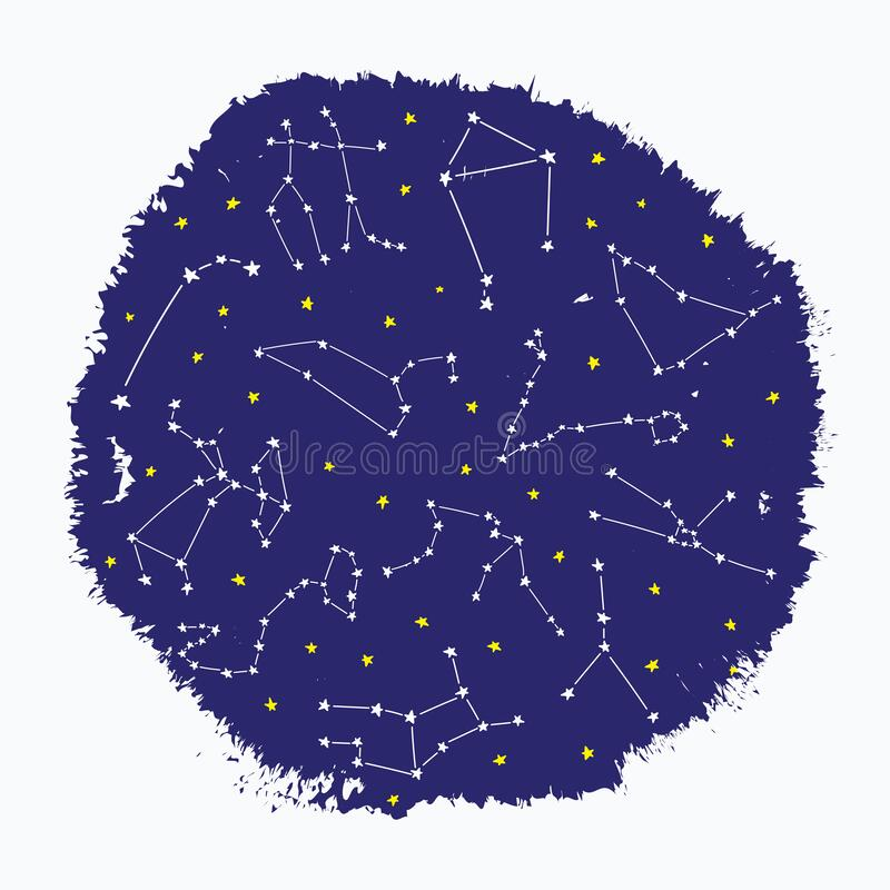 Cosmos constellation stars horoscope decoration pattern sky stock illustration