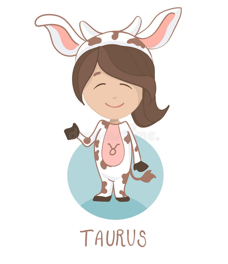 Cute cartoon character. Children horoscope icon, funny little girl in a cow costume as a taurus. stock illustration