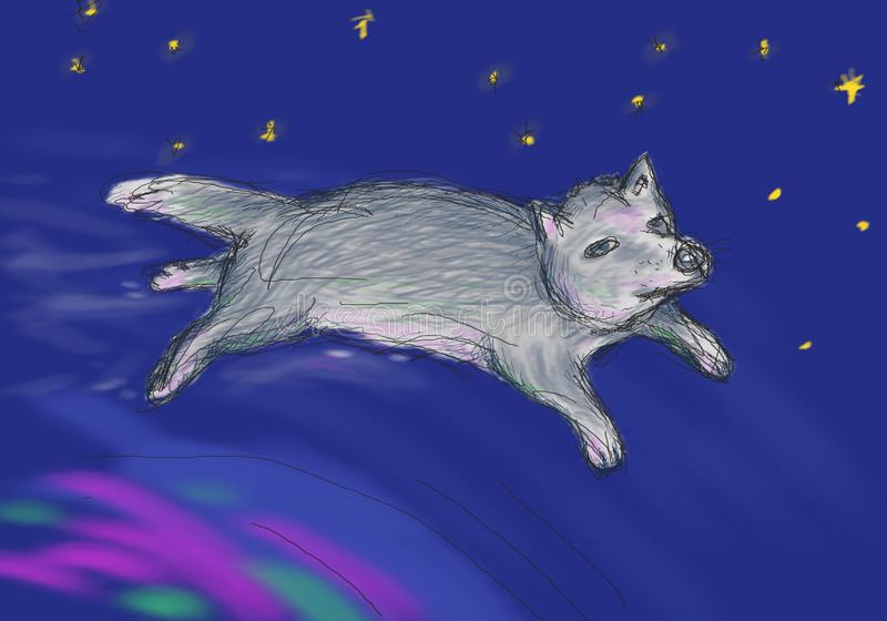 Fairy wolf flying over the northern lights in space. Illustration for children`s book, metaphorical cards, oriental horoscope royalty free illustration