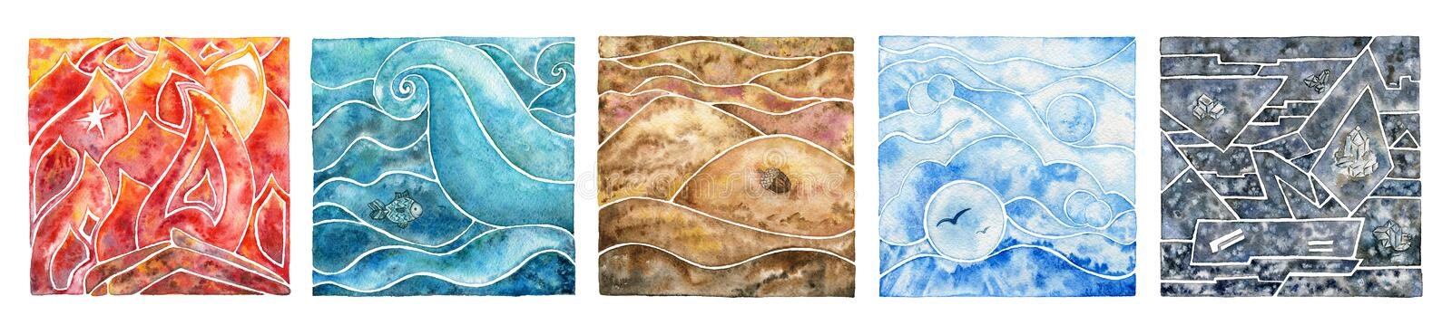 Five elements: fire, water, air, earth and metal. Oriental set. Five natural elements: fire, water, air, earth and metal. Watercolor illustration set stock illustration