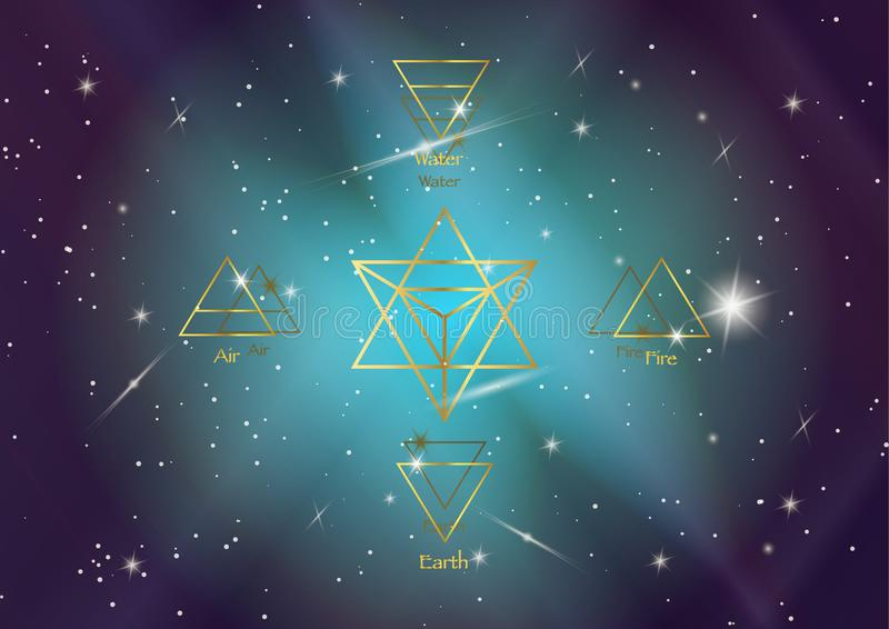 Icon elements : Air Earth Fire Water and Merkaba Star tetrahedron, Wiccan divination symbols. Ancient occult gold symbols. South east north west, vector vector illustration