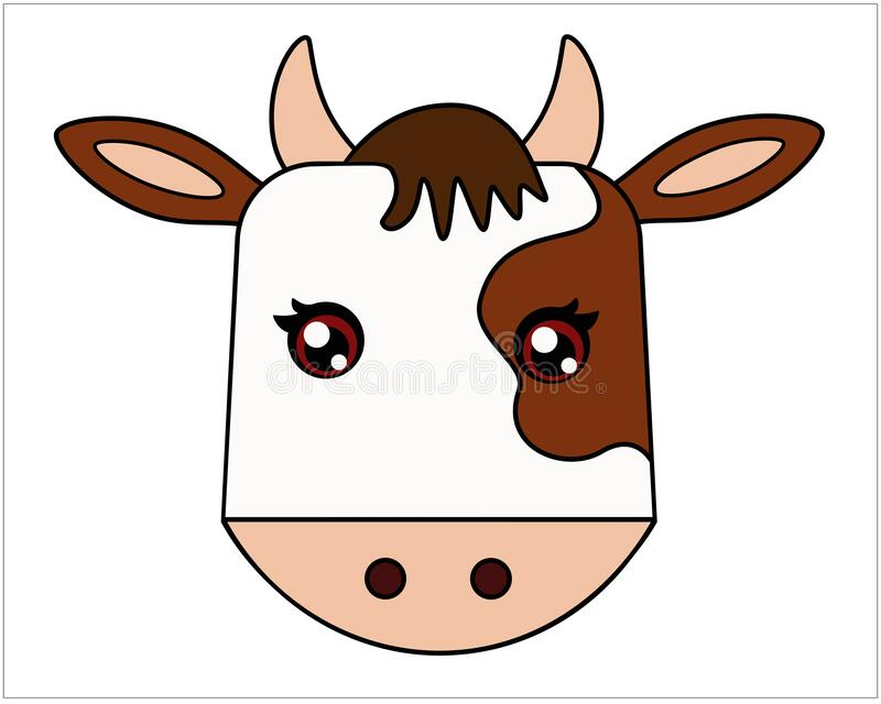 Bull - symbol 2021 - full-color, stylized children`s vector illustration with a bull head. The head of a calf is a cute picture. B vector illustration